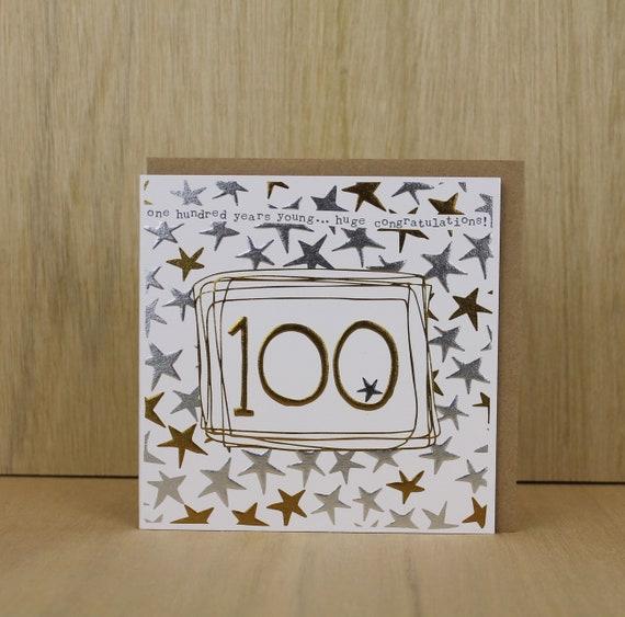 Carte Du 100e Anniversaire Carte De 100 Ans Carte Etsy