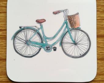 Green Bicycle Coaster - Dutch Bike Coaster - Wooden Coaster - Wooden Gloss Finish Coaster - Housewarming Gift