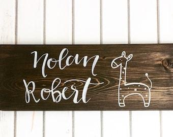 CUSTOM Giraffe Nursery Sign