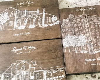CUSTOM Venue Drawing with hand lettered personalization | couple wedding gift | anniversary gift | newlywed gift | custom venue portrait