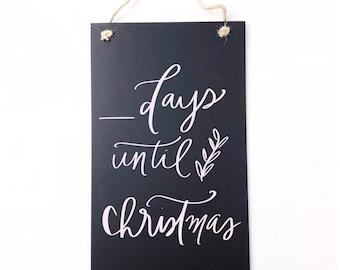Sleeps Until Christmas Shudehil Dog Countdown to Christmas Chalkboard Plaque