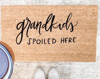 Grandkids Spoiled Here Doormat | spring doormat | hand lettered doormat | cute doormat | mother,s day gift | housewarming gift