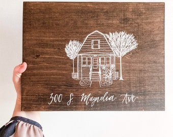 CUSTOM Home Portrait on Wood with Hand-lettered Personalization | Home Drawing | Housewarming Gift | New House Sketch | Realtor Closing Gift