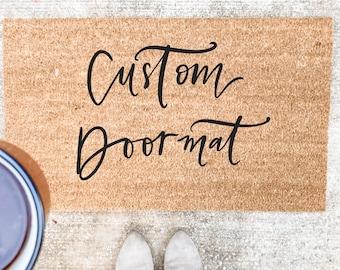 Custom Phrase Doormat- Personalized Doormat, Welcome Mat, Realtor Closing Gift, Custom Wedding Gift,  Housewarming Gift, Mother's Day Gift