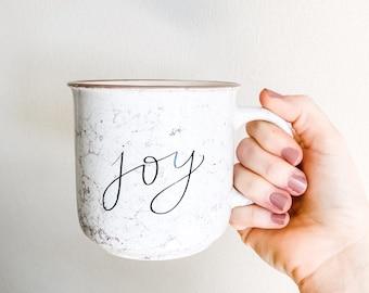 Joy Marble Ceramic Mug | Cute Joy Mug with hand lettered design | Ceramic Camper Mug | Teacher Gift | Mother's Day Gift | Christmas in July
