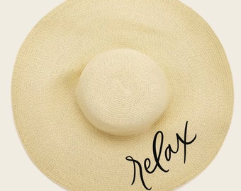 Calligraphy Floppy Hat, Summer beach hat, relax sun hat, do not disturb vacation hat, beach hat with hand lettering, boho beach hat