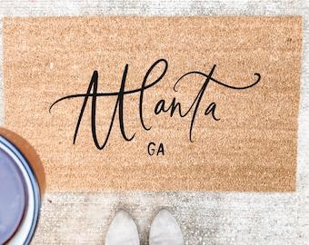 Custom City Doormat- Personalized Doormat, Welcome Mat, Realtor Closing Gift, Custom Wedding Gift,  Housewarming Gift, Airbnb Decor