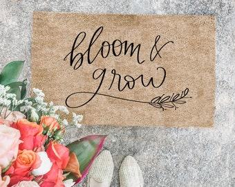 Bloom and Grow Spring Doormat | spring doormat  | cute doormat | outdoor doormat | wedding gift | housewarming gift | summer doormat