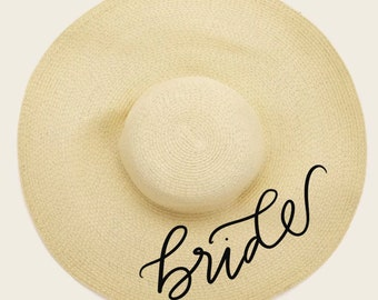 Personalized Floppy Hat, Custom Name Beach Hat, Personalized Bride and Bridesmaid Gift, Bridal Party Hat, Honeymoon Hat, Summer Beach Hat