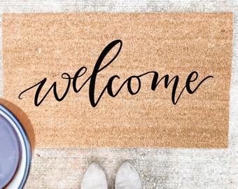 Welcome Calligraphy Doormat | spring doormat | hand lettered doormat | cute doormat | outdoor doormat | wedding gift | housewarming gift
