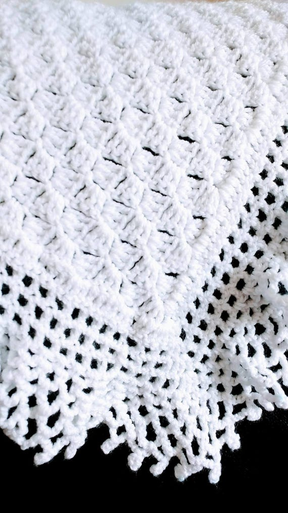 Flo\'s Lacy baby Afghan Christening Shawl Crochet | Etsy