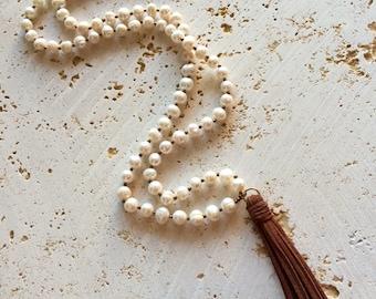 Long Freshwater Pearl Tassel Necklace,tassel necklace,Pearl Tassel Necklace,yoga pearl necklace,pearl tassel,pearl necklace with leather tas
