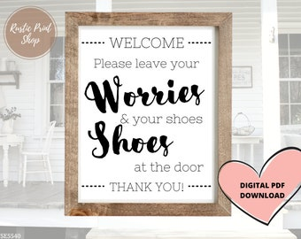 11.5x11.5 Handcrafted Welcome Sign Custom Wood Entryway Sign Home Welcome Shoes Off Sign Leave Your Worries And Your Shoes At The Door