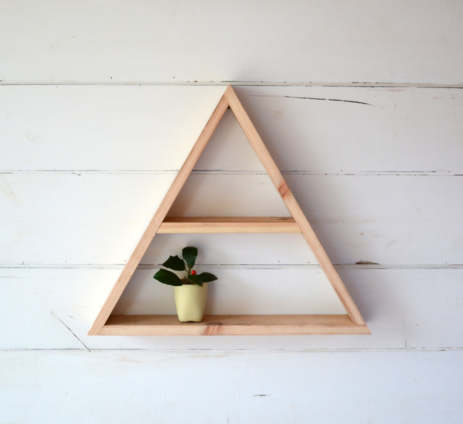 Large Reclaimed Wood Home Decor Triangle Shelf With Shelf