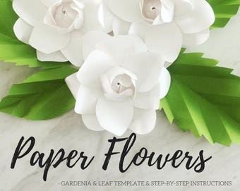 Paper gardenia template   paper flower template   paper flower backdrop   flower backdrop DIY   leaf template   paper flower
