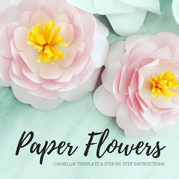 Paper camellia template flower template paper flower etsy image 0 maxwellsz