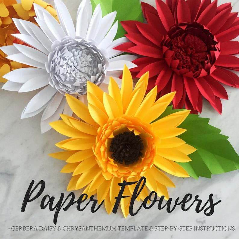 Paper Flower Template Paper Daisy Template Giant Paper Flower Flower Backdrop Diy Chrysanthemum Template Paper Flower Gerbera