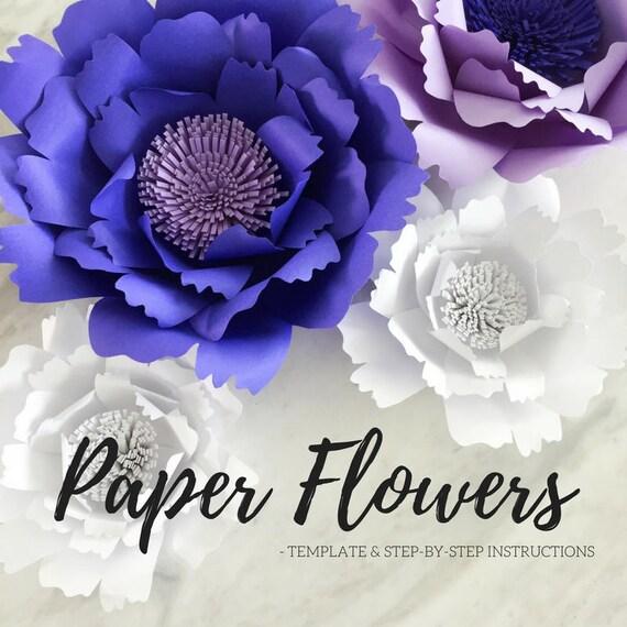 Paper flower template flower template paper flower etsy image 0 mightylinksfo