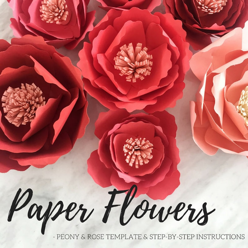 Paper Flower Template Paper Peony Giant Paper Flower Paper Flower Backdrop Large Paper Flower Rose Template Flower Template