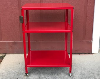 Vintage Mid Century Red Rolling Metal Kitchen Cart 3 Tiers