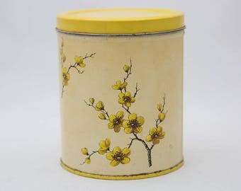 Primitive Patina Yellow Dogwood Floral Decoware Tin Canister