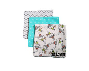 Girls Like to Have Fun 3 or 4 Pack Burp Cloths 2ply