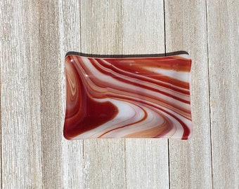 Fused Glass Soap Dish in swirly burnt orange and white. Great for soap, jewelry, trinkets, kitchen sponge, candles, candy, etc.