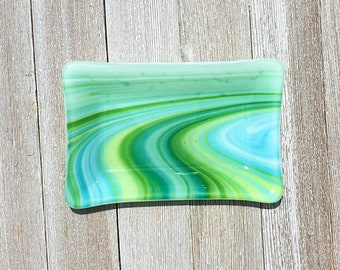 Fused Glass Soap Dish in swirly green, blue and white. Great for soap, jewelry, trinkets, kitchen sponge, candles, candy, etc.