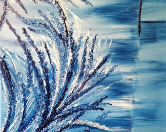 """Painting - Original 24x18 Abstract Acrylic Painting on Canvas Entitled """"Brilliance in Blue."""""""