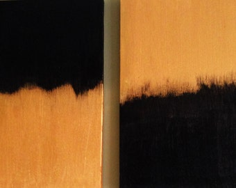 """Painting - Acrylic on canvas entitled """"Gold or Black.""""   11x14"""
