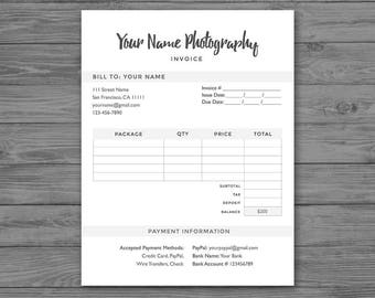 invoice form minimal photoshop template for photographers psd instant download