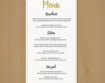 Dinner Menu Template | Wedding Menu Template Printable Dinner Menu Photoshop Psd Etsy