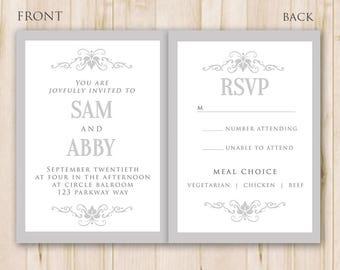 Black White Wedding Invitation Template Photoshop Psd Etsy