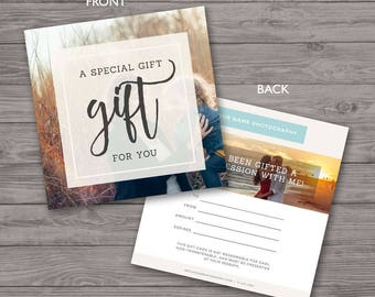 square gift certificate template photography gift card etsy