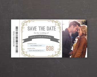 ticket save the date etsy