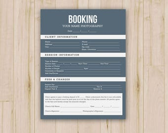 Client Booking Form Photoshop Template For Photographers Etsy