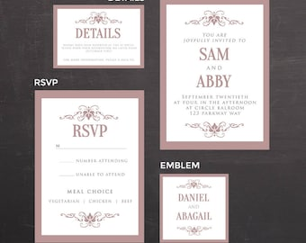 Wedding Invitation Template Flower Wedding Photoshop Psd Etsy
