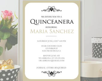 quinceanera invitation template tan sweet 16 invitation etsy