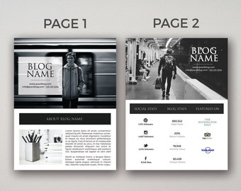 blogger media kit and rate kit template photoshop psd etsy