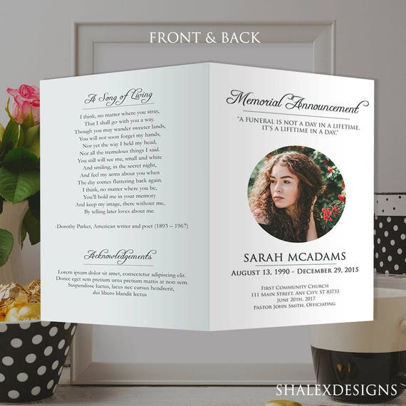 White Funeral Program Template Photoshop Psd Instant Etsy