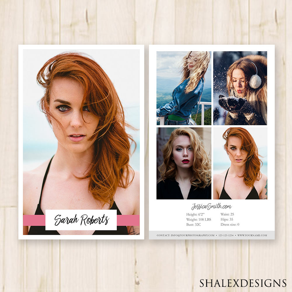 Modeling Comp Card Template - Photoshop PSD *INSTANT Within Comp Card Template Psd