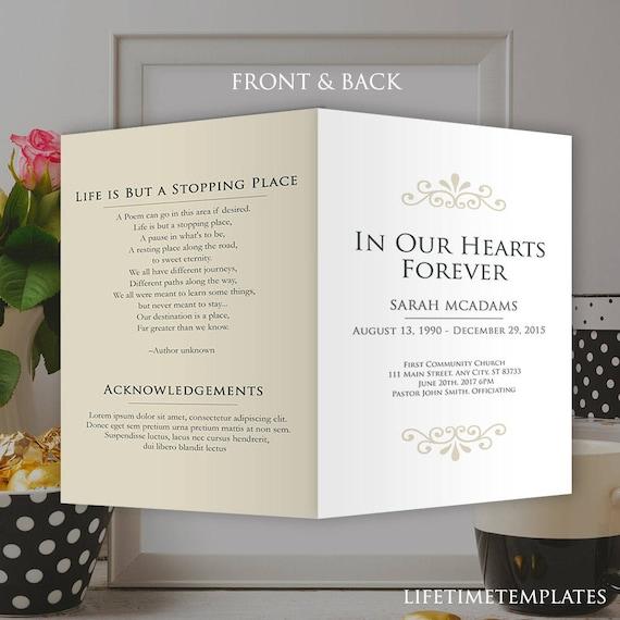 Elegant Funeral Program Template Obituary Memorial Program Etsy