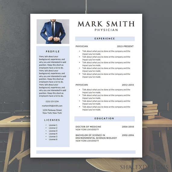 Medical Resume Template Microsoft Word Doc Instant Etsy