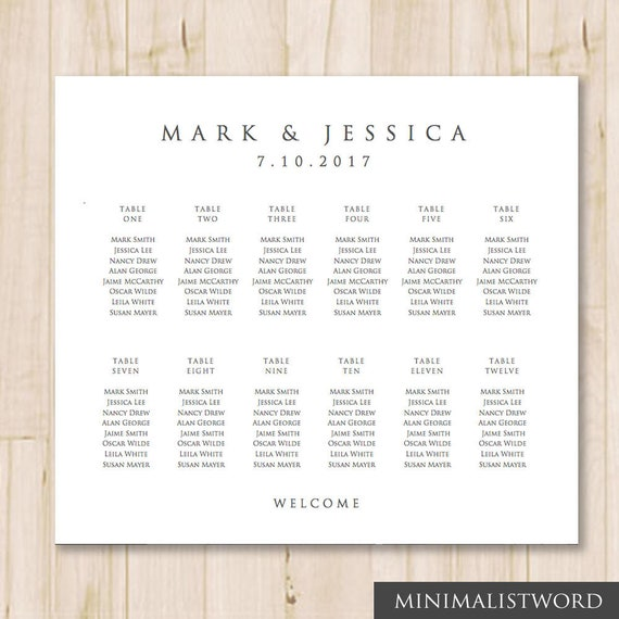 12 Tables Wedding Seating Chart Template Seat Chart Template Wedding Table Chart Microsoft Word Doc 24 X 20 Instant Download