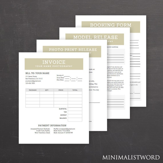 Tan Photography Form Templates Set Of 4 Pack Model Release Print Release Booking Invoice Ms Word Instant Download