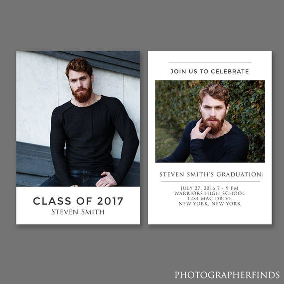 Senior Graduation Card Template Class of 2017 Graduation Invitation Senior Graduation Announcement Template for Photographers
