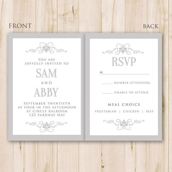 Elegant Wedding Invitation Template Photoshop Psd Instant Etsy