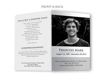 Funeral Program Template - Memorial Program Template, Funeral Card, Funeral Service, Church Service - Photoshop PSD *INSTANT DOWNLOAD*