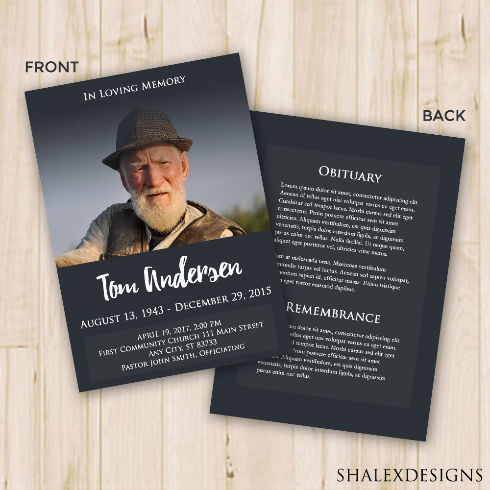 Funeral Program Template Funeral Card Memorial Program Etsy