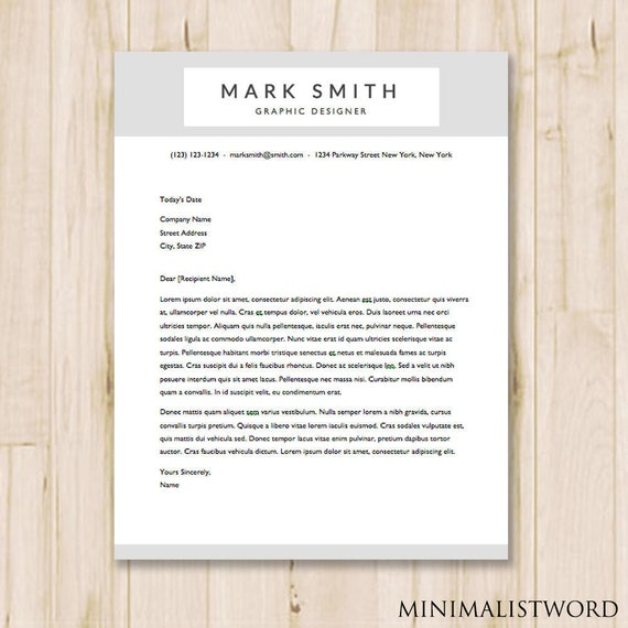 Gray Cover Letter Template MS Word INSTANT DOWNLOAD